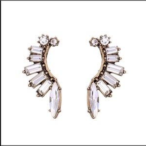 Gold Marquise Wave Russian CZ Post Earrings